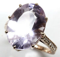 8.27 ct tw Natural Purple Amethyst & Diamond Solid 14k Rose Gold Cocktail Ring