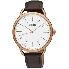 Seiko SUR234 P1 Rose Gold/White Dial Brown Strap Women's Quartz Watch