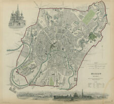 MOSCOW MOSKAU ?????? Antique city town map plan & panorama SDUK 1844 old