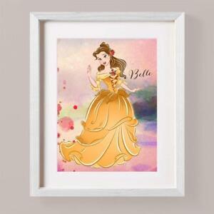 Disney PRINCESS BELLE BEAUTY BEAST Paint Splash Picture Print Nursery Bedroom