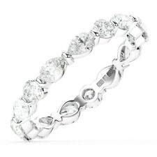 1.50CT Round & Pear Cut Diamonds Full Eternity Wedding Ring in 18K White Gold
