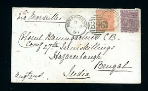 1866 Cover to India  10d Rate  6d + 4d Values from Huntington   (O436)