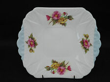 """Shelley Begonia Square Handled Cake Plate 9 5.8"""" Pink and Yellow Flowers"""