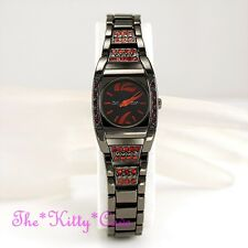 Swiss OMAX Hematite Black Seiko Movt Deco Watch w/ Red Swarovski Crystals JES054