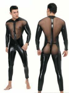 Men's PU leather Mesh tight Bodysuit Lingerie Wet Look Shiny Long Sleeve Costume
