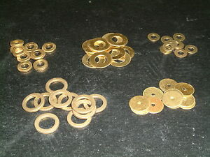 Brass Washers 2mm to 9.2mm I/D- Choose from 15 sizes, Various quantities