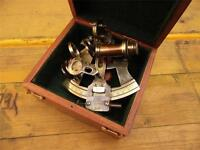 BEAUTIFUL ANTIQUE STYLE BRONZED SOLID BRASS SEXTANT KELVIN & HUGHES LONDON 1917