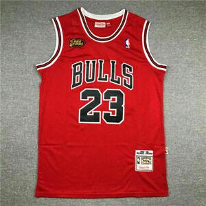 Chicago Finals Michael Jordan Bulls 23# Basketball Trikot Stitched Jersey 1998!!