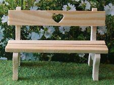 Love Heart Garden Bench, Dolls House Miniatures, Outdoor Furniture, 1.12 Scale