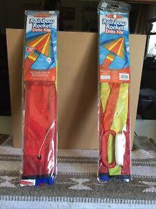 "2 Melissa & Doug Nylon Rainbow Rocket Delta Kite 39"" Wingspan - NEW"