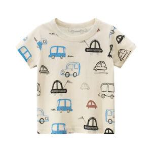 T-Shirt Girls Short Sleeves Tee Boys Collarless Top 100% Cotton Cartoon Cars ^