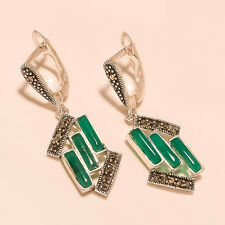 925 Sterling Silver Designer Green Onyx Pipe & Marcasite Fashion Jewelry Earring
