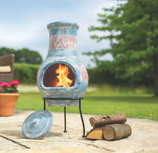 More details for 2nd 67190 oxford barbecues blue clay chiminea with red detail patio heater