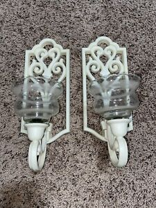 Set of 2 1982 Homco Candle Wall Sconce Shabby French Country Chic Antique White