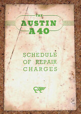 1954 AUSTIN A40 SCHEDULE of REPAIR CHARGES - Pub No 1083A