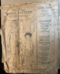 "Vintage 1921 ""The New"" McCall Girls Pattern 3286 Size 8 Printed Used"