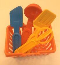 Fisher Price Fun With Food Kitchen Utensils Ladle Whisk Spatula Turner Basket