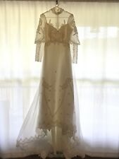 Vintage Victorian Princess Bride Wedding Dress Train Lace Beaded Applique Union