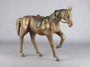 Vintage Statue Horse Figure Wooden & Skin Modern Antiques Design 1960