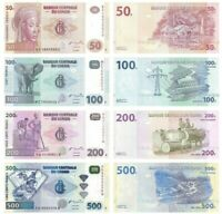 CONGO DEMOCRATIC REPUBLIC SET 4 PCS 50,100,200,500 FRANCS 2003-2013 UNC