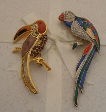 VINTAGE 1980's PARROT & TOUCAN GOLD ENAMEL CRYSTAL LARGE BROOCHES/PINS