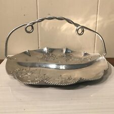 """Large 10"""" Vintage Orchid Aluminum Handled Separated Serving Dish Plate Mirror Fn"""