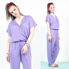 WOMENS VINTAGE LILAC PASTEL CROSS OVER FRONT JERSEY MATERIAL JUMPSUIT ROMPER 12