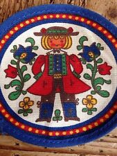 """2 Vintage Sew On Patch Dutch Girl Gretel Blue Red Gold Green  4.25"""" by 3.75"""""""