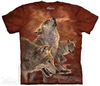 New The Mountain Red Glow Wolf T Shirt