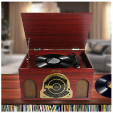 Vintage Vinyl LP Record Player Turntable with FM Radio CD USB Built-In Speakers