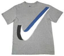 Nike Mens XL (Measures Medium) Gray T-Shirt Giant 3D Blue White Swoosh