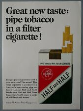 1965 Vintage PAPER PRINT AD HALF AND HALF pipe tobacco in a filter cigarette