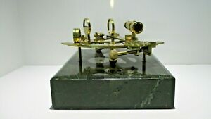 Antique Brass Nautical Sextant Navigational Instrument on Faux Green Marble Base
