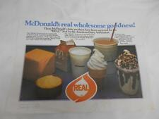 Old Vtg 1980's McDONALDS Restaurant PLACEMAT Advertising Real Seal Dairy Assoc.
