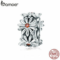 Bamoer Authentic S925 Sterling Silver Daisy Charm Spacer For Bracelet Jewelry