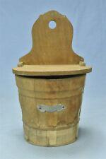 Antique WOODEN HALF BARREL KITCHEN SALT BOX HANGING or COUNTER TOP  #06288