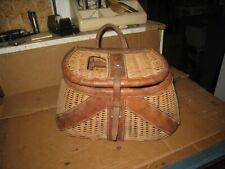 Vintage 1950's - 60's Creel / Wicker Fishing Basket  - Hong Kong Estate Find