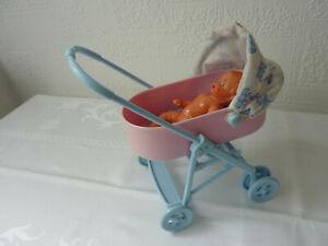 Puppenwagen mit Garnitur und Babypuppe, für Puppenstube, ca.16 x 16 cm