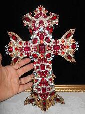 Large Vintage Rhinestone Jewelry Christmas Tree Un Framed Cross Art  12  x 8