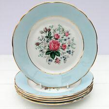 Vintage Duchess Bone China Pastel Blue Pink Roses Set 5 Tea Plates
