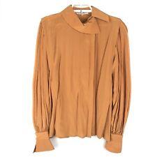 Escada 38 Blouse Silk Statement Sleeve Vintage Orange 70s