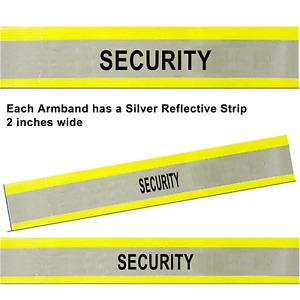 """Yellow Armband Reflective Hi Visibility ID Band SECURITY 2"""" Strip -18 x 4 inches"""