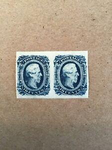 1863 - 1864 PAIR 10 CENTS JEFFERSON DAVIS (Blue) SCOTT CSA 12 HINGED VF +