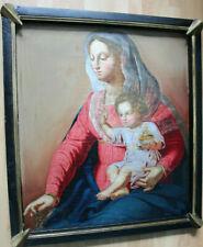 """Grand tableau ancien HSP """"Vierge à l'Enfant"""" Anonyme"""