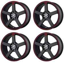 MOTEGI RACING MR116 MR11656531740 RIMS SET OF 4 15X6.5 40MM 5X100 BLACK/RED