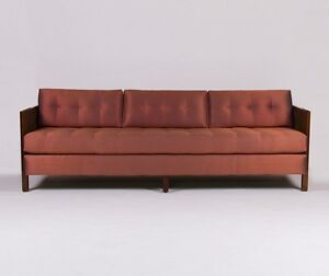 Mid-Century Cane Silk Sofa - style of Edward Wormely's Collection for Dunbar