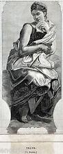 MUSE: ERATO, LA POESIA. Mitologia: Figlia di Zeus e Mnemosine.Stampa Antica.1874