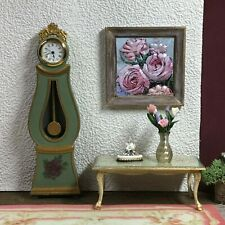 Dollhouse miniature 3D-layered paper roses picture 1:12 scale