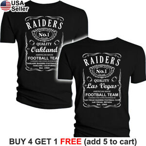 Las Vegas Raiders T-Shirt JD Whiskey Graphic Oakland Men Cotton Whisky