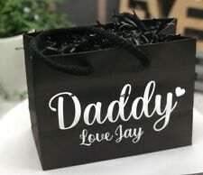 Personalised Father's day gift bag with shredded paper, silver metalic lettering
